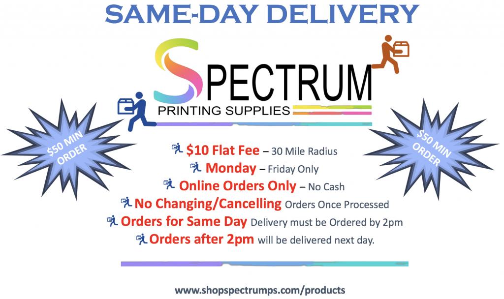 Spectrum Printing Supplies offering Same Day Deliver on Heat Transfer Vinyl